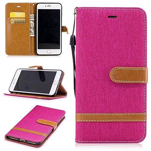 iPhone 7 Plus Coque, Voguecase Étui en cuir synthétique chic avec fonction support pratique pour Apple iPhone 7 Plus 5.5 (toile de jean-vert foncé)de Gratuit stylet l'écran aléatoire universelle toile de jean-rose