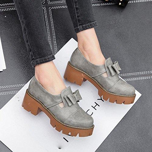 Mee Shoes Damen chunky heels Plateau Geschlossen Pumps Grau