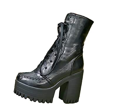 0d064966133 Three s Ladies Platform Heel Ankle Boots Lace Up Chunky Heel Sexy Biker  Combat Boots  Amazon.co.uk  Shoes   Bags