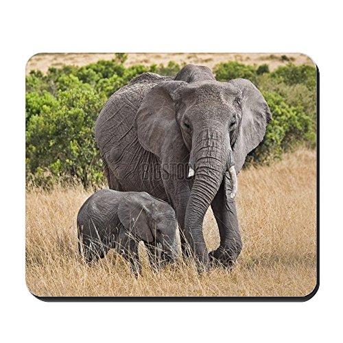 CafePress-Großer Elefant mit Baby-rutschfeste Gummi Mauspad, Gaming Maus Pad