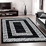 Teppiche modern designer für Wohnzimmerkurzflor Konturenschnitt Versace Muster mit Bordüre und Ornament meliert,modernen Farben mit Lurex wie Schwarz und Weiss_3120, Maße:200x290 cm