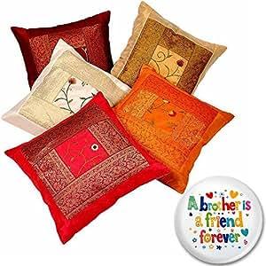 Little India Zari Hand Embroidery Work Silk 5 Piece Cushion Cover Set - Multicolor (DLI3CUS426)