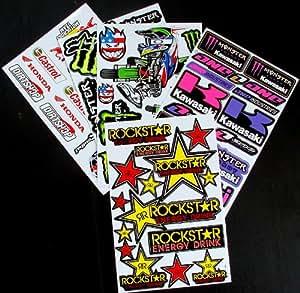 6 feuilles de Stickers pour motocross KZZ Rockstar énergie MX STICKER BOMB Lot de bmx Scooter cyclomoteur STICKER en vinyle