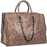 styleBREAKER Vintage Shopper Handtasche mit Kette in rockigem Style, Schultertasche, Tote Bag, Tasche, Damen 02012057, Farbe:Antik-Khaki