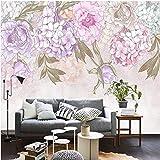 XIAOMENG Wallpaper Hintergrundbild Individuelle Fototapeten Handgemalt Pastoralen Retro Hortensie Zimmer Wandbild Wohnzimmer Tv 3D Tapete, H90 * W56Cm