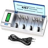 EBL Chargeur de Piles Universel- LCD Chargeur Universel pour AA/LR6, AAA/LR3, C/R14, D/R20 Piles Rechargeables en Ni-MH Ni-CD