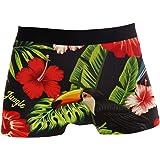 ALARGE Boxer da uomo con fiori di palma e foglie di uccello, biancheria intima morbida elasticizzata per uomini e ragazzi S-X