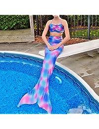 pepeng cola de sirena para 4–10años Bikini Girls, juego de 2pcs Fancy swimmable Sea-maid disfraz para niños (Talla 140)