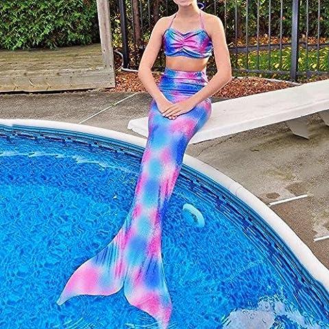 pepeng cola de sirena para 4–10años Bikini Girls, juego de 2pcs Fancy swimmable Sea-maid disfraz para niños (Talla