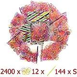 lot de 2400 élastiques (12x200) recharge mini-élastiques Bracelets colorés compatible rainbow loom