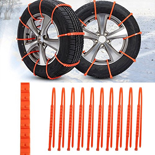 20 pezzi di catene da neve a doppio dente antiscivolo per auto/camion universali, larghezza: 175-295 mm