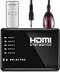 rts 5 Port HDMI Switch (Switcher Selector) with Remote 5 in 1 Out Control, Auto Switching,1080p