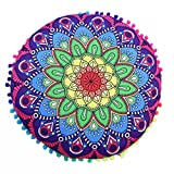 Indian Mandala Floor Pillows Round Bohemian Cushion Pillows Cover Case Cushions By Dragon (E)