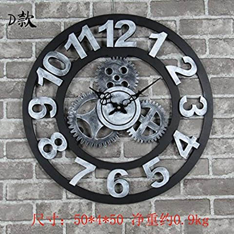 Sucastle Horloges murales, horloges murales, ornements, horloges, horloges murales créatives, horloges murales tridimensionnelles, horloges, horloges, horloges, horloges 20 pouces