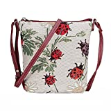 Signare Tapestry Women Lightweight Sling Cross Body Satchel Bag Ladybird and Daisy (SLING-LDBD)(Size: S)