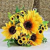 1 Bouquet Artificial Silk Sunflower 7-stems Flowers For Home Decoration Wedding Decor, Bride Holding Flowers Floral Decors