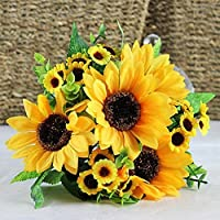 1bouquet artificiale di girasoli in seta, 7 steli di fiori per decorazione domestica, matrimoni, mazzo di fiori per la sposa, decorazione floreale