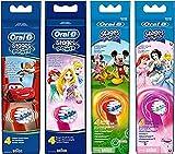 Oral-B Stages Power Kids Aufsteckbürsten, im Disney Cars, Prinzessinnen oder Micky Maus Design, 4 Stück (Verschiedene design)