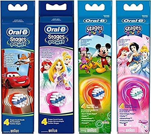 Oral-B Stages Power Kids Aufsteckbürsten mit Disneys Autos, Prinzessinnen oder Micky Maus (Ersatzbürstenköpfe für elektrische Kinderzahnbürsten, mit Disney-Figuren, powered by Braun) 4 Stück