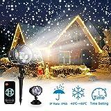 LED Projektionslampe mit Fernbedienung Bewegliche Punkte Muster Schneefall für Innen und Außen mit Fernsteuerung, Beleuchtung als Gartenleuchte Projektor, Mauer Dekoration Party Weihnachten und Disco