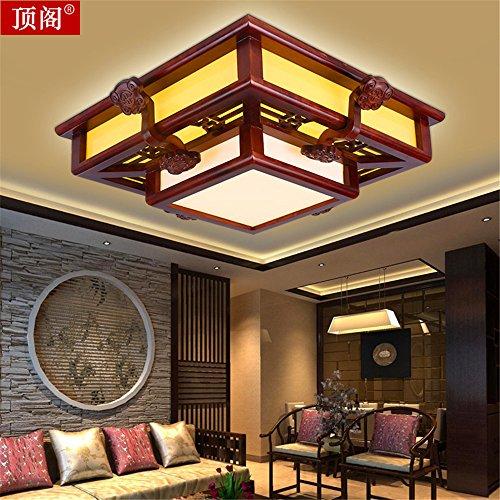 BRIGHTLLT Chinesische Wohnzimmer Deckenlampe LED Massivholz Schlafzimmer restaurant Study Lampen antike Lampen und Pergamentpapier Holz 560 mm