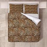 Jior Home Art Bettwäsche Set Bettbezug Und 2 Kopfkissenbezug Atmungsaktiv,Anti Milben,Geeignet Für Allergische Haut,Ideal Für Kinder Jugendliche Schlafzimmer Leopard,155x220cm