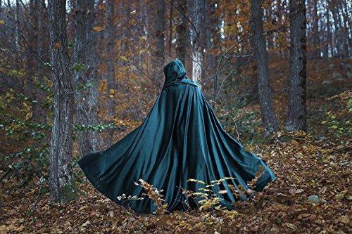 Mittelalterlicher Robe Umhang mit Kapuze, Kostüm Cape Fairytale Fantasie Mantel in grün