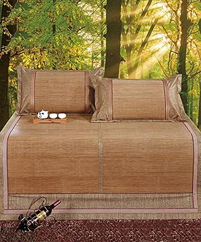 Utilisation double face tapis de lit --- Foldable Cool Bamboo Woven 3 pièces Matelas à double face pour l'été - Taille unique / double --- tapis de lit pliant en bambou naturel et en ro ( taille : 180*200cm )
