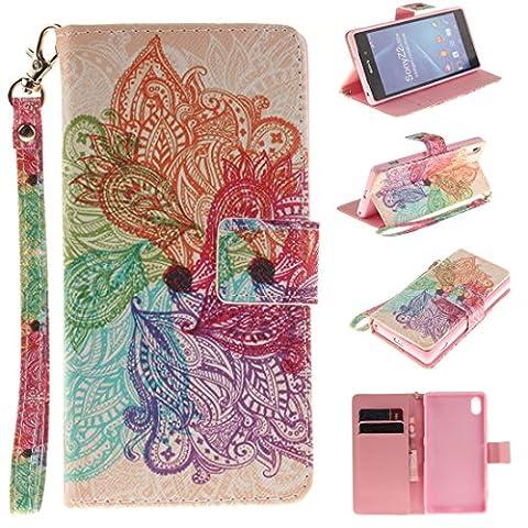 Nancen Sony Xperia Z2 (5,2 Zoll) Handytasche / Handyhülle. Flip Etui Wallet Case in Bookstyle - Premium PU Lederhülle Hülle Cover Mit Lanyard / Strap, Standfunktion, Kreditkarte und Brieftasche