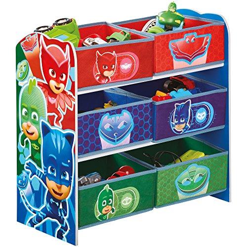 Hello Home PJ Masks Super Pigiamini-Mobile con contenitori per la cameretta a 6 Scomparti, Legno, Multicoloured, 30x63.5x60 cm