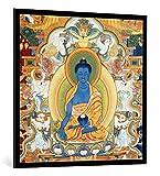 Kunst für Alle Image encadrée: Nepalese School Buddha der Medizin nepales Thangka - Impression d'art décorative, en Cadre de Haute qualité, 100x100 cm, Noir/Bord Gris