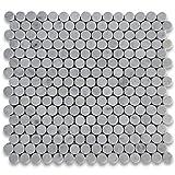 Carrara White Italian Carrera Marmor Penny rund Mosaik Fliese 3/10,2cm poliert