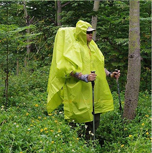 Ultra-léger trois-en-un tissu Poncho extérieur Multi-fonctionnels Poncho hommes portable et femmes Alpinisme Randonnée Sac à dos ultra-léger Imperméable Canopy Pour Cloth ( couleur : Orange ) Vert