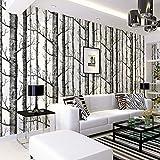 Tapete Birke, Birch Forest Wallpaper Fototapete Birkenwald Vliestapete 3D Wood Tapete Wandtapete Schlafzimmer Baum Moderne Dekoration 0.53m*10m (Tapete Birke)