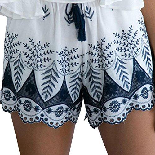 Große Jute-tote (OverDose Damen Hot Pants Frauen Blumendrucke mit hohen Taille Spitze Shorts Sommer-beiläufige kurze Hosen (S, D-Weiß))