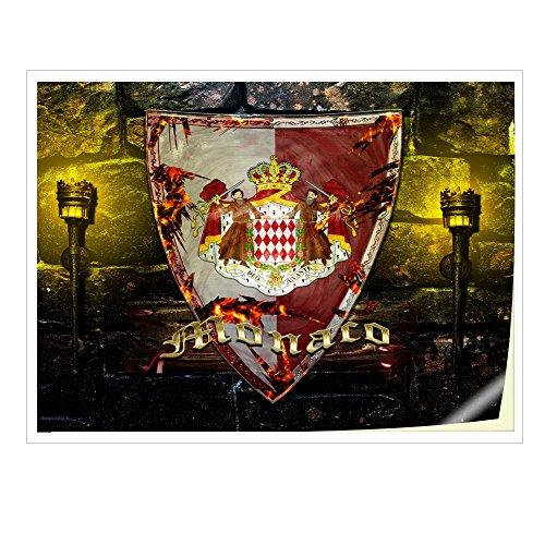 Wappen Monaco, Skin-Aufkleber Folie Sticker Laptop Vinyl Designfolie Decal mit Ledernachbildung Laminat und Farbig Design für Laptop 19