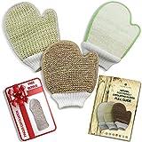 Conjunto de guantes exfoliantes Paquete de exfoliante corporal natural respetuoso con el medio ambiente, contiene manoplas de fibra de bambú y lufa, yute y sisal.