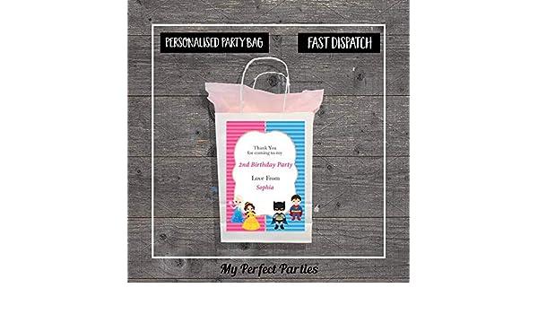 Personalised Princess and Superhero Birthday Party Bag Paper Gift Loot Bag..