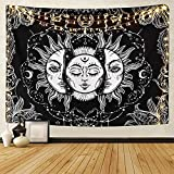 LOMOHOO Tarot Tapestry Sun and Moon Psychedelic Tapestry Black Celestial Wall Hanging Wall Tapestries Indian Mandala Bohemian Hippy Beach Throw