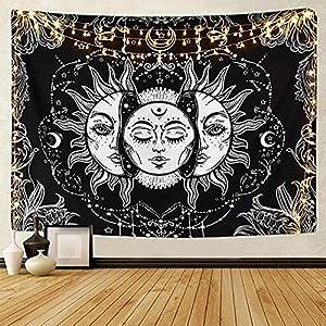 LOMOHOO Tarot-Wandteppich Sonne und Mond Psychedelische Tapisserie Schwarz Himmlisch Wandbehang Wandteppiche indisch Mandala Bohemien Hippie Strand werfen (A-Sonne und Mond, M/130cmx150cm)