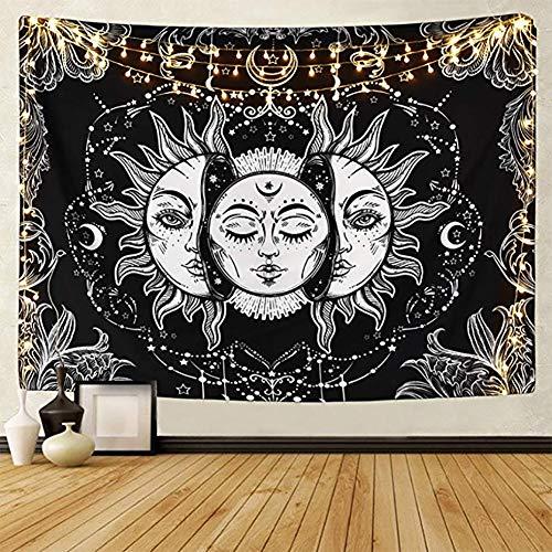 LOMOHOO Tarot-Wandteppich Sonne und Mond Psychedelische Tapisserie Schwarz Himmlisch Wandbehang Wandteppiche indisch Mandala Bohemien Hippie Strand werfen (L/Sun&Moon)