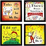 Indianara 4 Piece Set Of Framed Wall Hanging Motivational Office Decor(1149) Art Prints 8.7 Inch X 8.7 Inch Without Glass