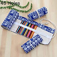 HUANGMENG Pen Holder 48 Slots Ethnic Elephant Print Pen Bag Canvas Pencil Wrap Curtain Roll Up Pencil Case Stationery Pouch HUANGMENG