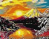 DIY Vorgedruckt Leinwand-?lgem?lde Geschenk f¨¹r Erwachsene Kinder Malen Nach Zahlen Kits Home Haus Dekor - Berg Fuji 40*50 cm