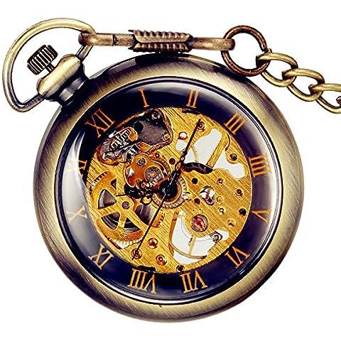 Lancardo Orologio Meccanico da Tasca per Uomo Quadrante Numeri Romani, Manuale Trasparente, Bronzo