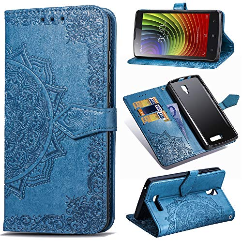 Kihying Hülle für Lenovo Angus2 / A2010 Hülle Schutzhülle PU Leder Flip Wallet Fashion Geschäft HandyHülle (Blau - SD08)