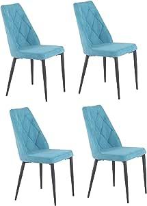 Meubletmoi Lot de 4 chaises Tissu Bleu capitonné et Pieds