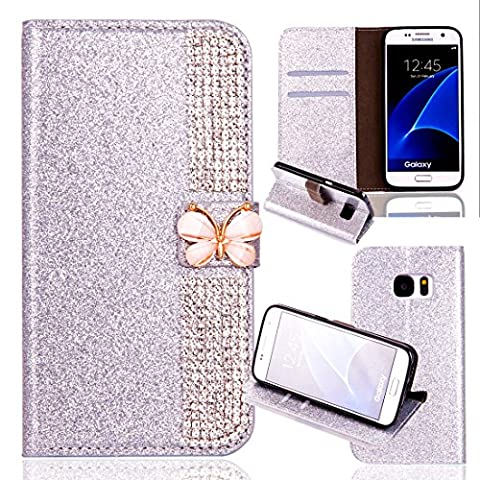 Samsung Galaxy S6 Wallet Case,Samsung Galaxy S6 Flip Case,Leather Case with Stand for Samsung Galaxy S6,Luxury Novelty Cool Cut Premium Scratch Resistant 3D Bling Sparkle Shiny Glitter PU Leather Creative Butterfly Design Claw Chain Diamond Rhinestone Pattern Folio Magnetic Closure Flip Wallet with Credit Card Holder Slots [Kickstand] Full Body Protection Book Style Bumper Case Cover Shell for Samsung Galaxy S6 5.1