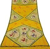 Vintage Indian Vintage-Crepe Seide Saree Gelb Blumenmuster