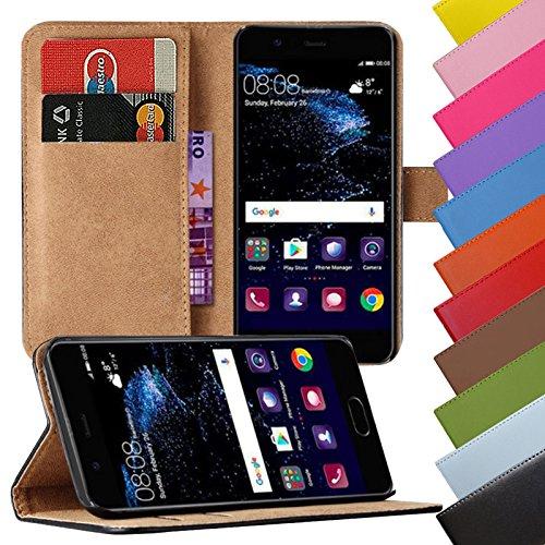 EximMobile - Book Case Handyhülle für Huawei Ascend P7 Mini mit Kartenfächer in Schwarz | Schutzhülle aus Kunstleder | Handytasche als Flip Case Cover | Handy Tasche | Etui Hülle Kunstledertasche